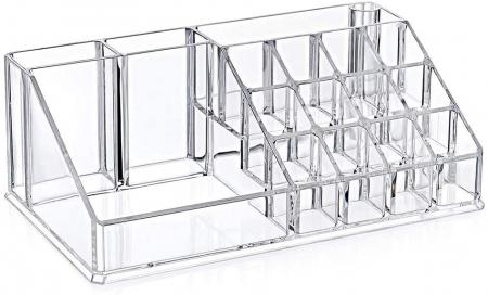 Organizator de Cosmetice, NAGO®, 16 compartimente, Plexiglas, 22 x 13 x 8 cm, Transparent0