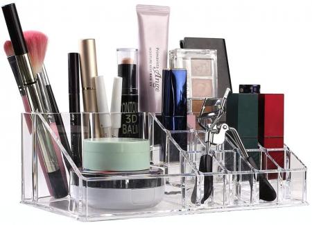 Organizator de Cosmetice, NAGO®, 16 compartimente, Plexiglas, 22 x 13 x 8 cm, Transparent5