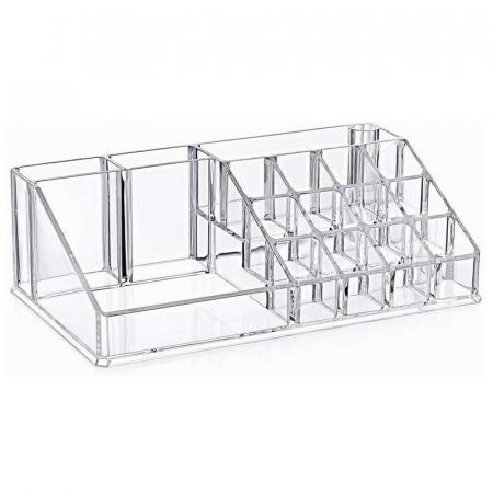 Organizator de Cosmetice, NAGO®, 16 compartimente, Plexiglas, 22 x 13 x 8 cm, Transparent2