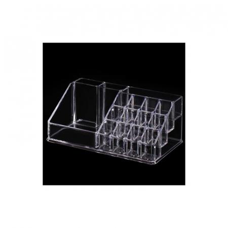 Organizator de Cosmetice, NAGO®, 16 compartimente, Plexiglas, 22 x 13 x 8 cm, Transparent13
