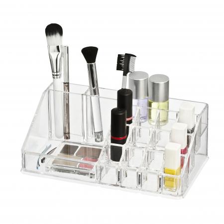 Organizator de Cosmetice, NAGO®, 16 compartimente, Plexiglas, 22 x 13 x 8 cm, Transparent7
