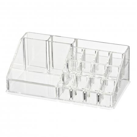 Organizator de Cosmetice, NAGO®, 16 compartimente, Plexiglas, 22 x 13 x 8 cm, Transparent1