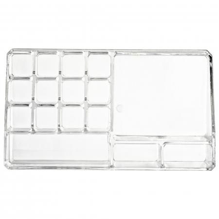 Organizator de Cosmetice, NAGO®, 16 compartimente, Plexiglas, 22 x 13 x 8 cm, Transparent11