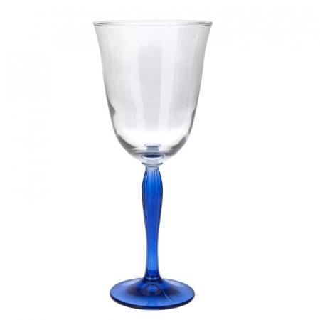Pahar din sticla cu Picior colorat Albastru, NAGO, pentru Vin Alb/Rose/Mixt Cocktail, H21 x D9.5 cm, 300 ml, Transparent1