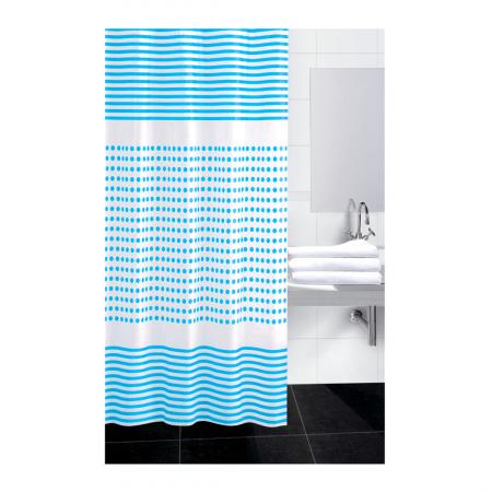 Perdea dus 180x180 cm dungi si buline  albastre [1]