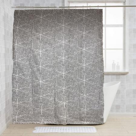 Perdea de dus, cu carlige, model dungi, Alb/Negru, 180x200 cm, 270g4