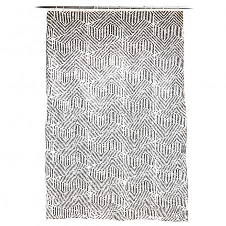 Perdea de dus, cu carlige, model dungi, Alb/Negru, 180x200 cm, 270g0