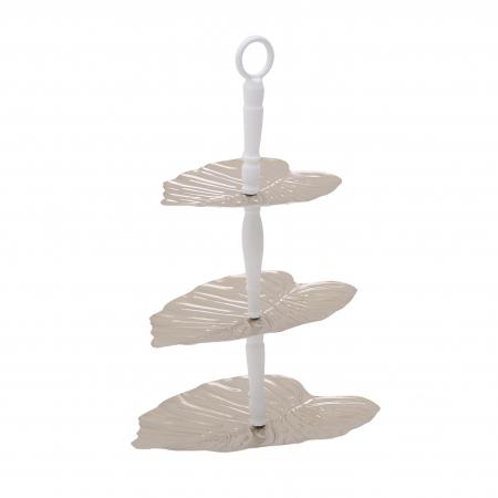 Platou 3 nivele forma Frunza, pentru aperitive, din metal, culoare Auriu cu Alb, 33x26.5x48 cm [2]