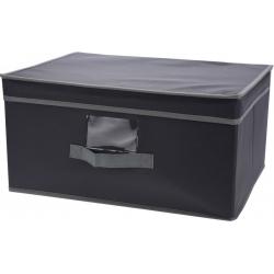 Cutie depozitare din material textil cu capac, 31x28x15.5cm, culoare Gri0