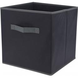 Cutie depozitare textil cu maner, culoare Neagra, 30x30x30 cm0
