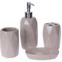 Set accesorii baie, patru piese, din ceramica, model fatetat, bej [0]