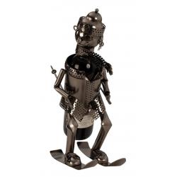 Suport Metalic pentru Sticla de Vin, model Skior, Capacitate 1 Sticla, Negru/Argintiu, H 34.5 x l 27cm2