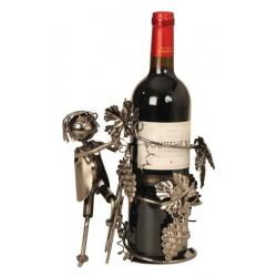 Suport din Metal pentru Sticla de Vin, model Culegator Struguri, Capacitate 1 Sticla, Negru/Argintiu, H 21 cm [5]