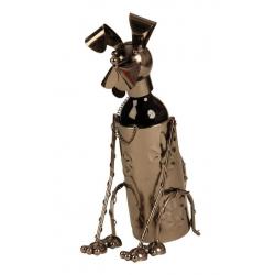 Suport pentru Sticla Vin, model Catel, metal lucios, culoare Negru/Argintiu, capacitate 1 Sticla, H 36 cm0