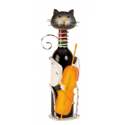 Suport pentru Sticla Vin, model Pisica, Metal Lucios, Capacitate 1 Sticla, H 36.5 cm [0]