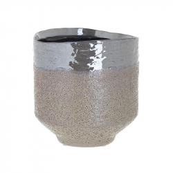 Vaza ceramica, culoarea Bej perlat, 17cm x 17cm0