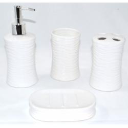 Set accesorii baie din ceramica  model valuri alb3