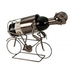 Suport pentru Sticla Vin, model Biciclist, Metal Lucios, Capacitate 1 Sticla, H 24.5 cm2