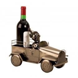 Suport pentru Sticla de Vin din Metal, model Masina cu Mos Craciun H24cm L 34cm [0]