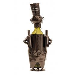Suport din Metal pentru Sticla de Vin, model Barman, Capacitate 1 Sticla, Negru/Argintiu, H 38 cm7