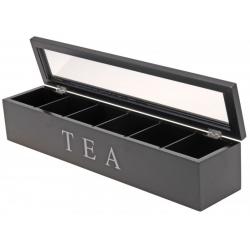 Cutie depozitare ceai 6 compartimente MDF 43x9x8.7cm negru1