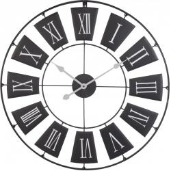 Ceas de perete din metal, Negru cu limbi Gri si cifre romane Mari Albe, D 70cm, grosime 2cm0