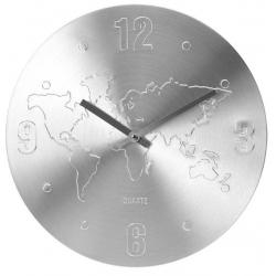 Ceas de perete Argintiu, din Aluminiu, cu limbi Argintii, D 35cm, model Harta Lumii0