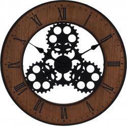 Ceas de perete, din metal si MDF, design industrial, diametru 57cm, grosime 4cm, Maro0