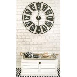 Ceas de perete din metal, Negru cu limbi Gri si cifre romane Mari Albe, D 70cm, grosime 2cm2