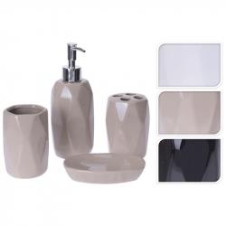 Set accesorii baie, patru piese, din ceramica, model fatetat, bej [1]