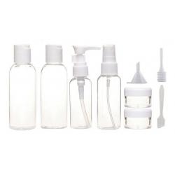 Set de recipiente calatorie si sticle, 11buc, De voiaj, Plastic, Alb/Transparent1