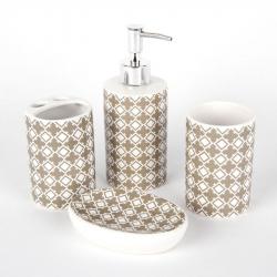 Set accesorii baie din ceramica 4 piese, cu model maro1