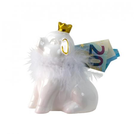 Pusculita din Ceramica, NAGO, Porcusor Alb, Printesa cu Coroana aurie si cu fular din Pene, H12.5 cm1