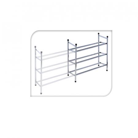 Raft extensibil pentru pantofi, din metal, cu 3 polite, Cromat, 23x50x61 cm1