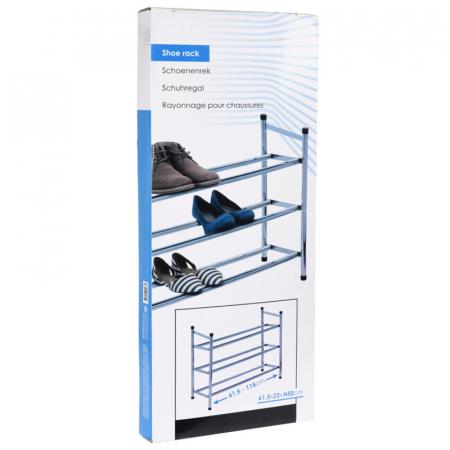 Raft extensibil pentru pantofi, din metal, cu 3 polite, Cromat, 23x50x61 cm2