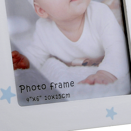 Rama foto lemn culoare alb cu bleu 10x15 cm5