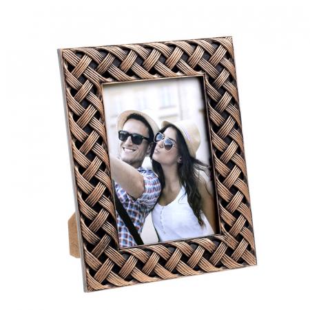 Rama foto din plastic, model impletitura, culoare bronz, 20x25 cm [1]