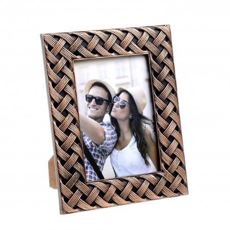 Rama foto din plastic, model impletitura, culoare bronz, 20x25 cm [0]