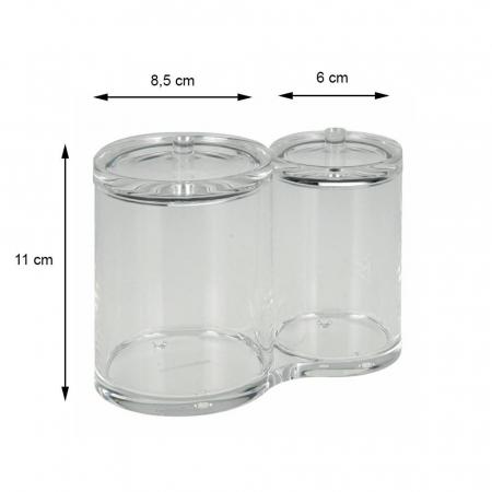Recipient cu 2 compartimente, pentru dischete demachiante, NAGO, articolele de baie, Acril, D 6cm si 8.5cm, H11cm, Transparent2