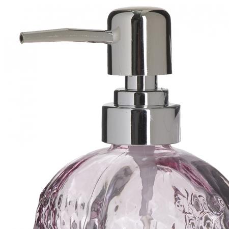 Recipient pentru sapun din sticla roz model buline , inaltime 18 cm diametru 7,5 cm1