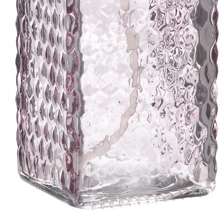 Recipient pentru sapun din sticla roz model buline , inaltime 18 cm diametru 7,5 cm3