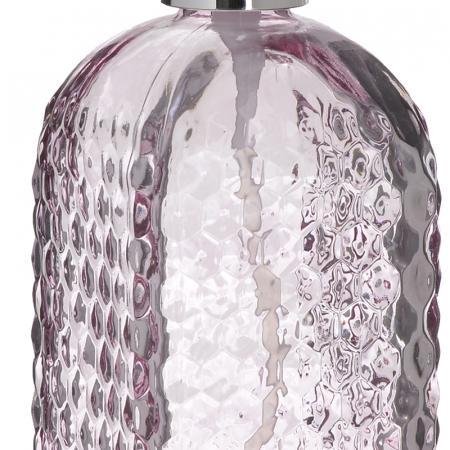 Recipient pentru sapun din sticla roz model buline , inaltime 18 cm diametru 7,5 cm2