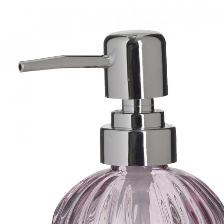 Recipient pentru sapun din sticla roz model dungi, inaltime 18 cm diametru 7,5 cm1
