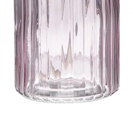 Recipient pentru sapun din sticla roz model dungi, inaltime 18 cm diametru 7,5 cm3