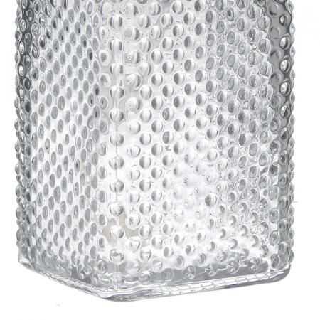 Recipient pentru sapun lichid din sticla transparenta model buline , inaltime 18 cm diametru 7,5 cm2
