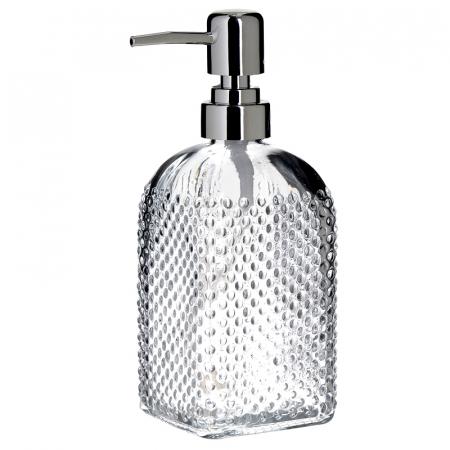 Recipient pentru sapun lichid din sticla transparenta model buline , inaltime 18 cm diametru 7,5 cm0
