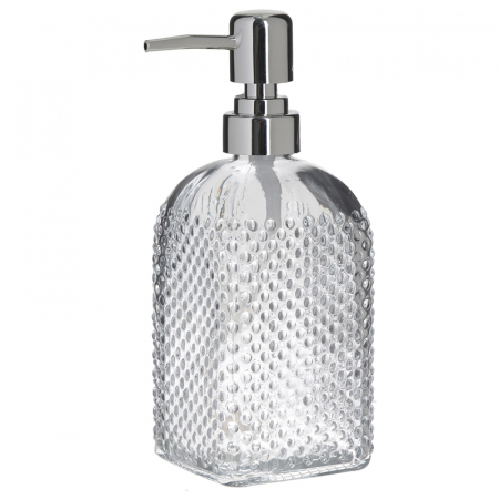 Recipient pentru sapun lichid din sticla transparenta model buline , inaltime 18 cm diametru 7,5 cm3
