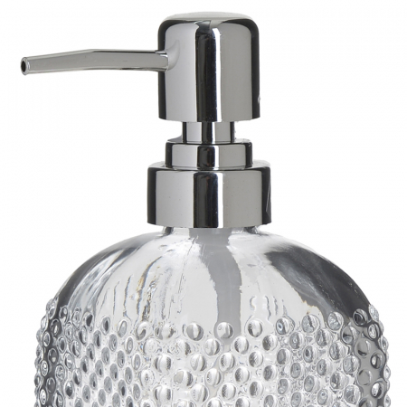 Recipient pentru sapun lichid din sticla transparenta model buline , inaltime 18 cm diametru 7,5 cm1