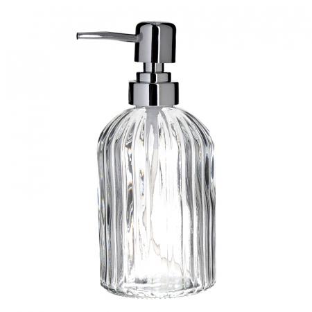 Recipient pentru sapun din sticla transparenta model dungi, inaltime 18 cm diametru 7,5 cm3