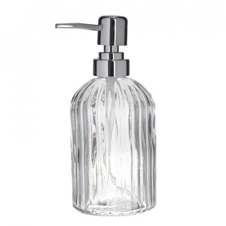 Recipient pentru sapun din sticla transparenta model dungi, inaltime 18 cm diametru 7,5 cm0